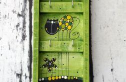 Wieszaczek na klucze zielony z kotkiem