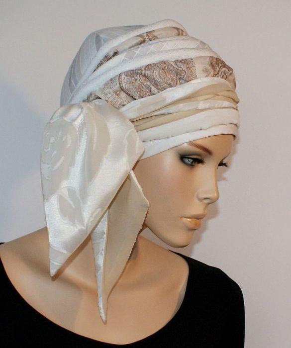 lekki turban CENNY - szarfa wiązana z boku głowy