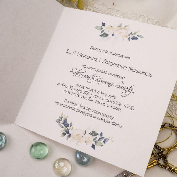 Zaproszenia na komunię, chrzest - kwiaty3 - zaproszenia z wiankiem, zaproszenia glamour, eleganckie zaproszenia