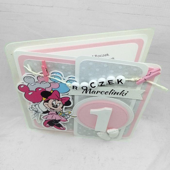 Kartka z Myszką Minnie klamerki UDP 008 - Kartka na Roczek dla dziewczynki z Myszką Minnie (3)