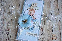 Kartka DL na chrzest Blue Blossom GOTOWA
