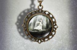 Medalion, naszyjnik - Magiczny Las - zdobiony, stare złoto