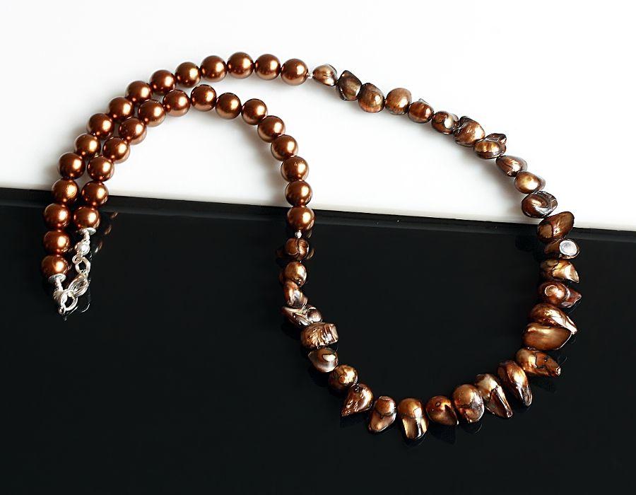 Brązowe perły - naszyjnik - naszyjnik z perłami