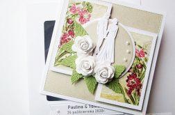 Kartka ŚLUBNA - beż z różem