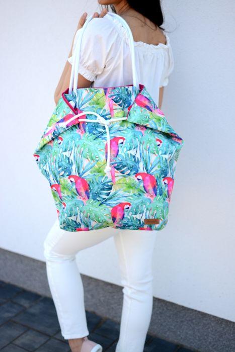 duża torba na plażę, wodoodporna w papugi - torba na ramię