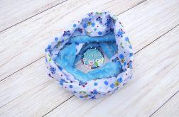 KOMIN szalik chusta - bawełna i Minky - kwiatuszki motylki niebieski