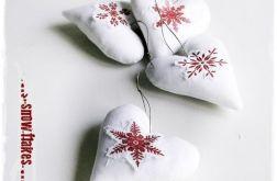 WHITE CHRISTMAS serduszka - cottage home vintage & retro