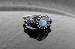Pierścionek srebrny kyanit i lapis lazuli