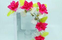 Latarenka biała metalowa z różowymi kwiatami