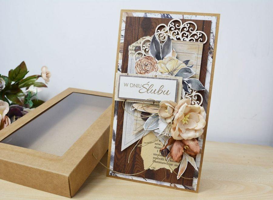 Boho-ślub kartka w pudełku