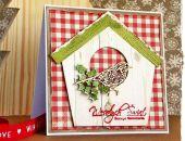Kartka Bożonarodzeniowa z domkiem dla ptaszków