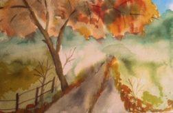 pejzaż jesienny akwarela