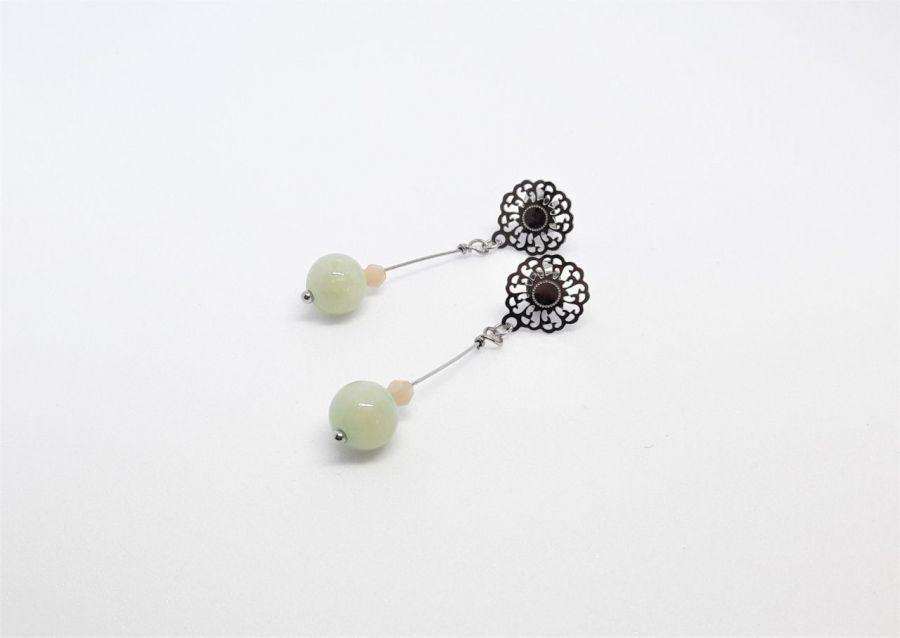 Kolczyki z szaro-zielonym jadeitem -