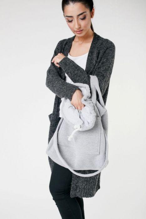 duża torebka na zakupy szara - torba na zakupy