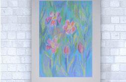 Rysunek kwiaty na szarym tle nr 10 szkic