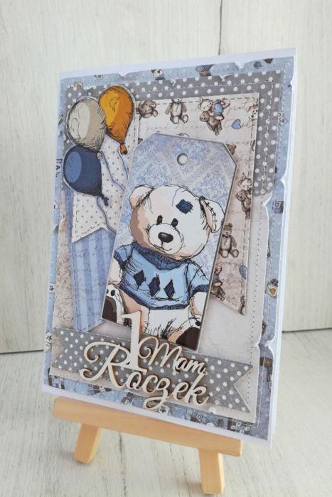Kartka 3D w pudełeczku, prezent roczek