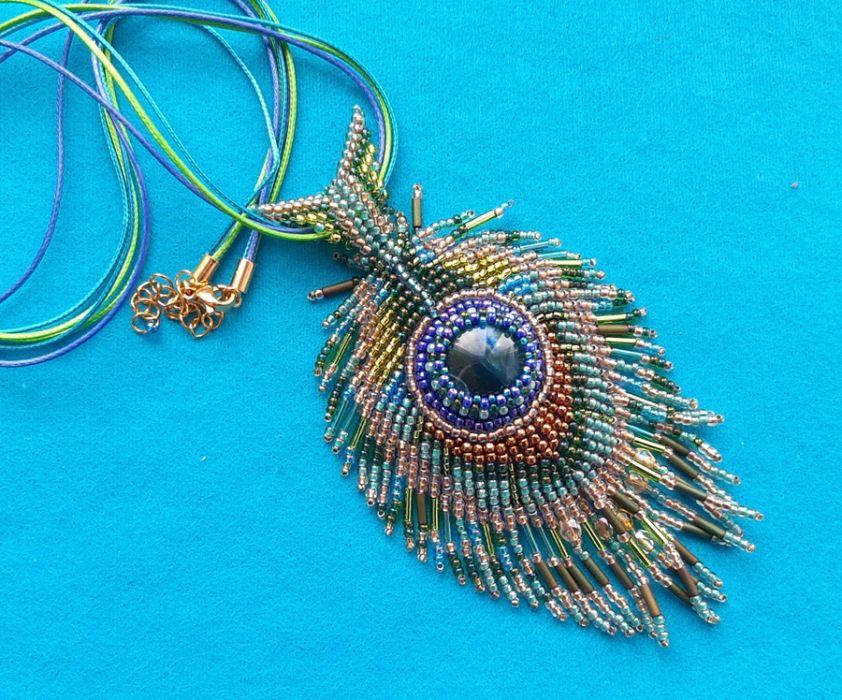 Wisior Kolorowy Pawie oko, haft koralikowy