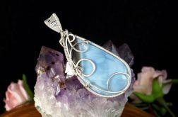 Srebrny wisior z opalem niebieskim handmade