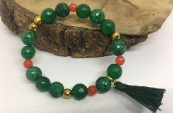Bransoletka zielona z jadeitów i hematytów