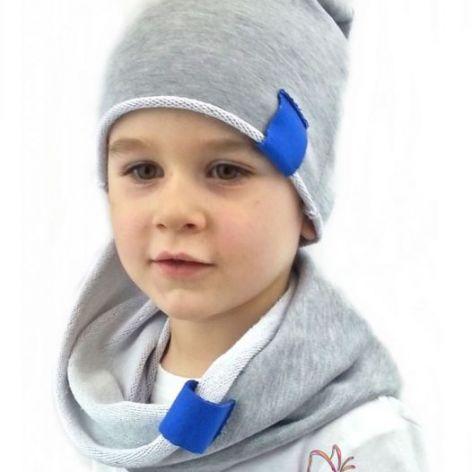 Komplet czapka i komin szaro - niebieski