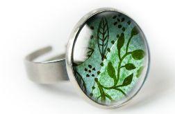 Green nature pierścionek z ilustracją