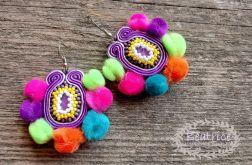 Kolczyki Rainbow pompons