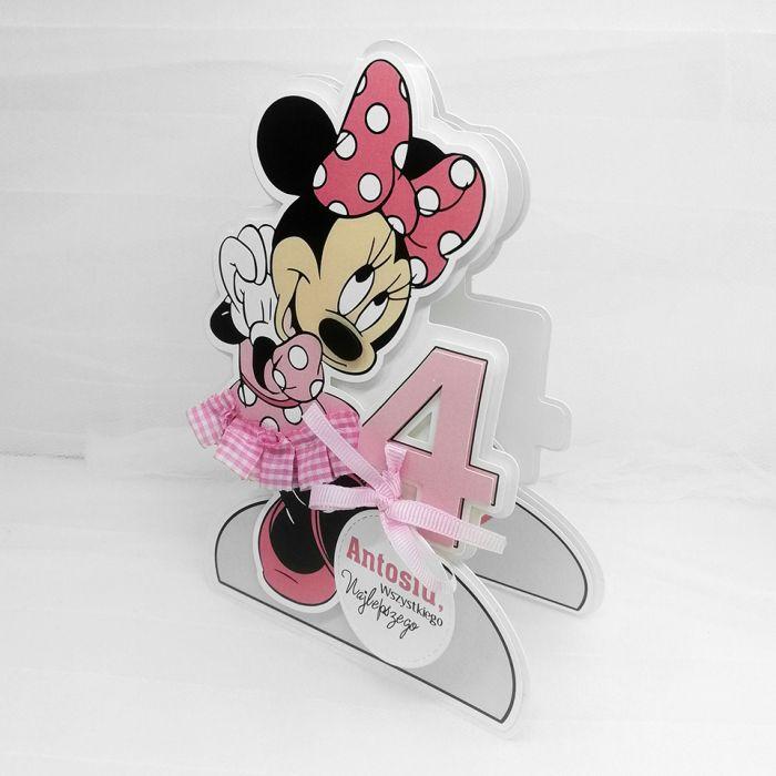 Kartka w kształcie myszki Minnie UDP 048 - Kartka w kształcie myszki Minnie różowa na 4 urodzinki (2)