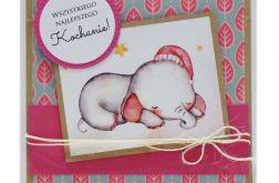 Kartka na urodziny dziecka śpiący słonik