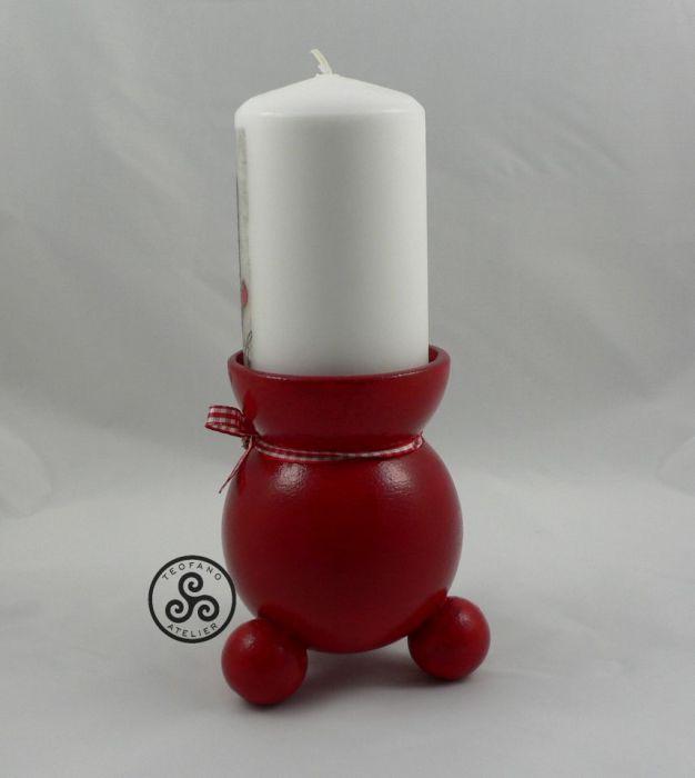 Świecznik czerwony plus świeca - teofano atelier, świecznik