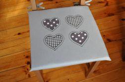 Poduszka na krzesło, siedzisko - serca szare