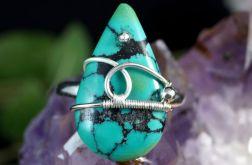 Turkus, srebrny pierścionek z turkusem