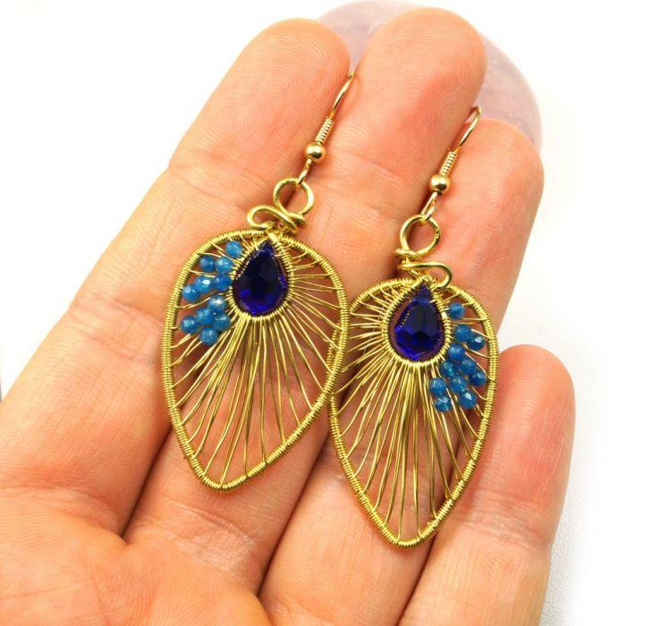 Mosiężne kolczyki z kryształem i agatem - mosiężne kolczyki na dłoni niebieskie