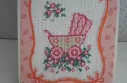 Kartka- dziecięcy różowy wózeczek
