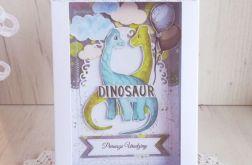 Kartka w pudełeczku z Dinozaurem 6 GOTOWA