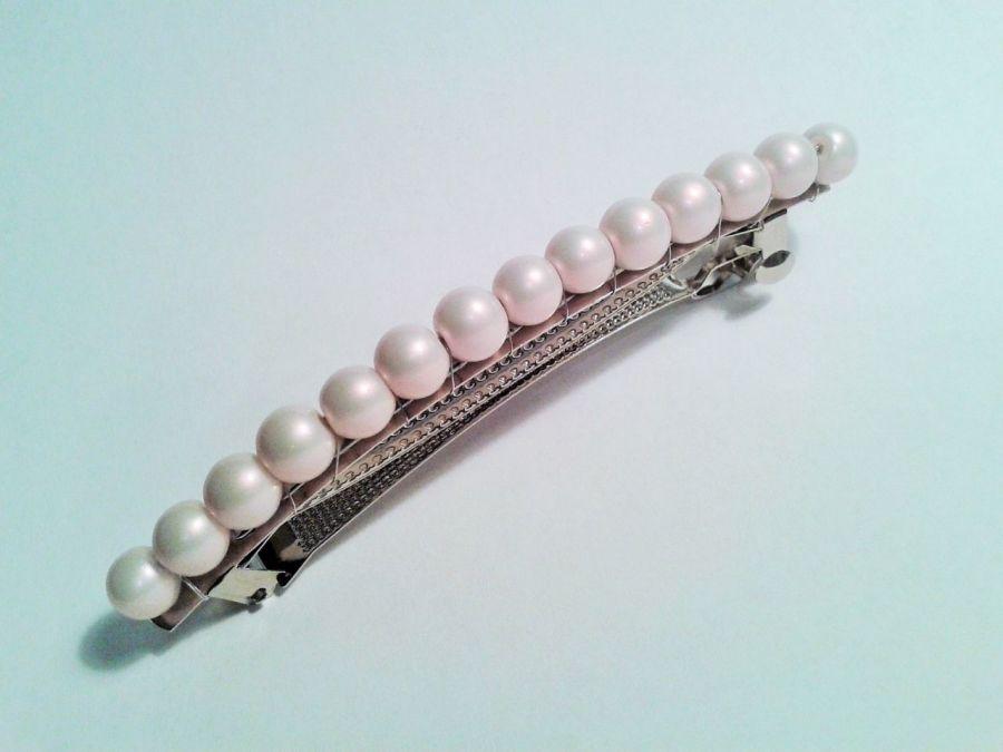 spinka do włosów perłowo- różowa - spinka do włosów rózowe perły