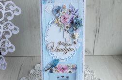 Kartka urodzinowa DL w pudełeczku GOTOWA