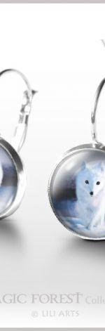 Kolczyki - Biały lis - White Fox - bigle angielskie