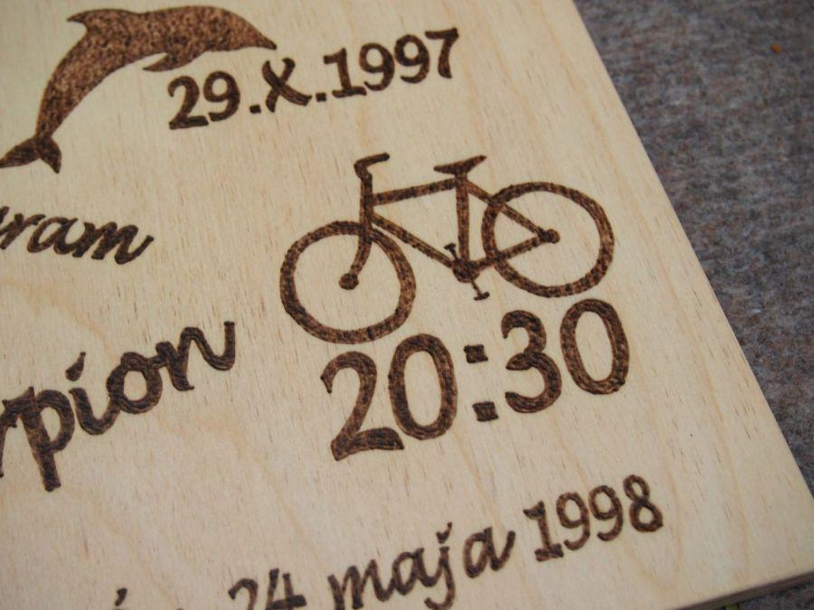 drewniana metryczka obrazek 21x30cm - upominek na bierzmowanie