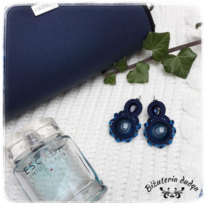 Kolczyki sutasz soutache niebieskie mandala - Soutage