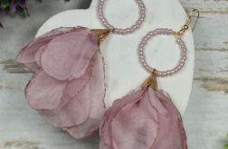 Długie kolczyki kwiaty -pudrowy róż