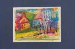 Miasteczko -akwarela obraz malowany