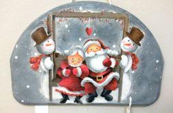 Świąteczny obrazek wiszący z parą Mikołajów