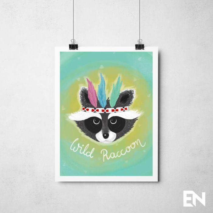 Plakat Wild Raccoon -