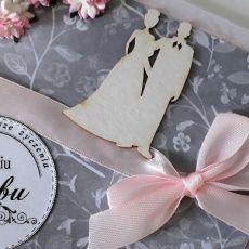 Kartka ślubn na ślub para młoda astry