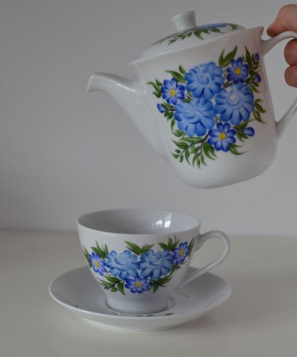 """Zestaw malowany do kawy 6 elementów ,,Niebieski klasyczny"""" - Filiżanka i czajnik"""