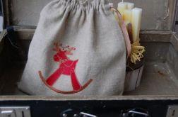 Świąteczny woreczek haftowany
