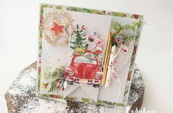 Czerwony samochodzik- kartka świąteczna 3