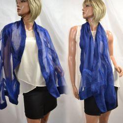 Granatowy szal jedwabny do sukienki