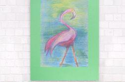 kolorowy rysunek z flamingiem, obraz flaming