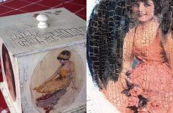 Drewniana szkatułka Retro dla babci pudełko